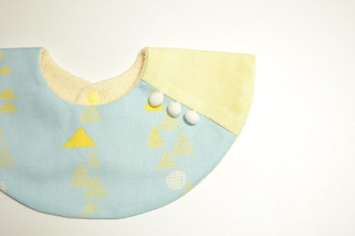Bib Pompom Collar Bib in Blue with Yellow Triangles - Happy Poppets