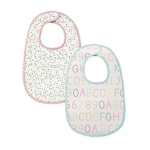 Bib Bib Set of 2: Alphabet and Multi Dots - Happy Poppets