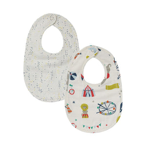 Bib Big Top & Showers Blue Bibs, Set of 2 - Happy Poppets