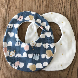 Bib Blue Forest / Ivory with Golden Stars - Happy Poppets