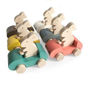 Wooden Toy Bunny in the Car - Happy Poppets