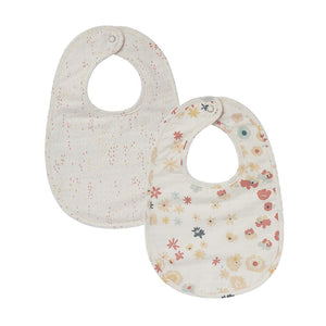 Bib Meadow & Showers Pink Bibs, Set of 2 - Happy Poppets