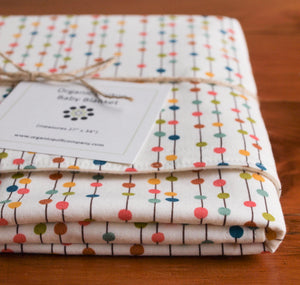 Organic Blanket Organic Cotton Patterned Blanket in Rainbow Bobbers - Happy Poppets