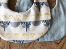 Bib Scandinavian Forest in Ivory / Baby Blue with Silver Stars - Happy Poppets
