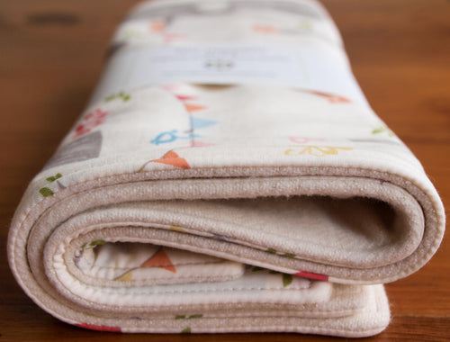 Burp Cloths Organic Cotton Burp Cloths in Woodland Party (Set of 2) - Happy Poppets