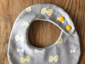 Bib Grey Butterflies / Blue with Silver Stars - Happy Poppets