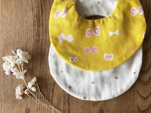 Bib Yellow Butterflies / Ivory with Golden Stars - Happy Poppets