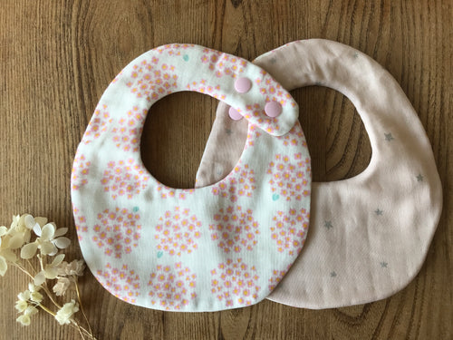 Bib Pink Daisies / Pink with Silver Stars - Happy Poppets