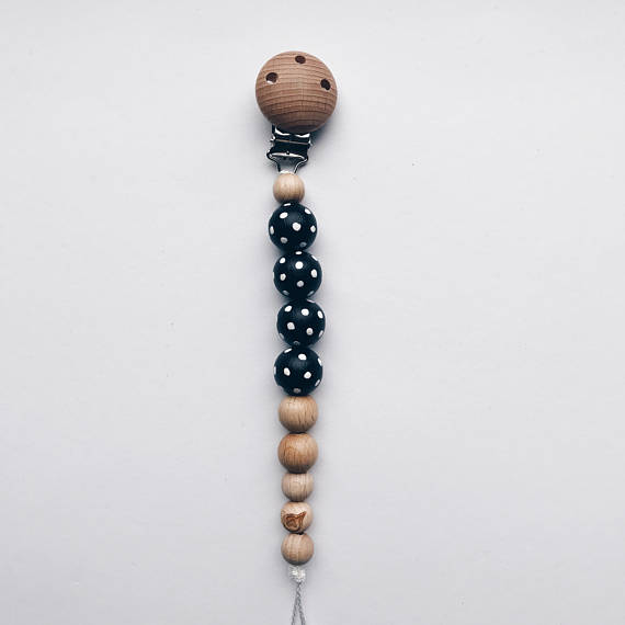 Pacifier Clip Hand-painted Pacifier Clip - Black Polka Dots - Happy Poppets