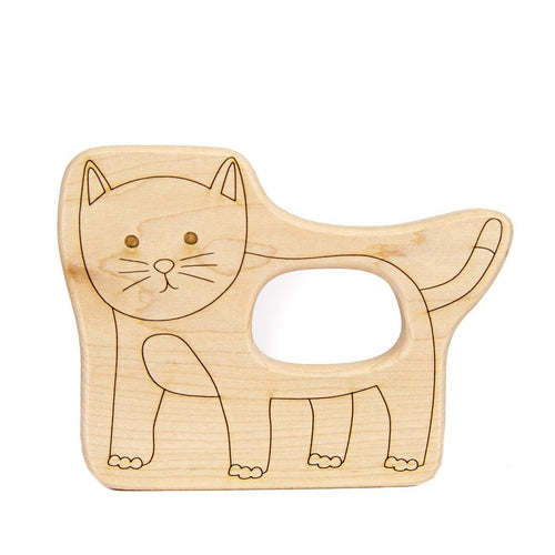 Teether Kitty Cat Wood Toy Teether - Happy Poppets