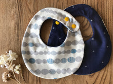 Bib Mocomoco in Ivory / Navy with Silver Stars - Happy Poppets