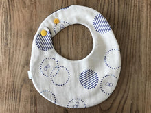 Bib Navy Florets / Ivory with Blue Circles - Happy Poppets
