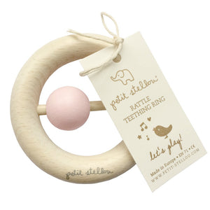 Teether Rattle Teething Ring - Pink - Happy Poppets