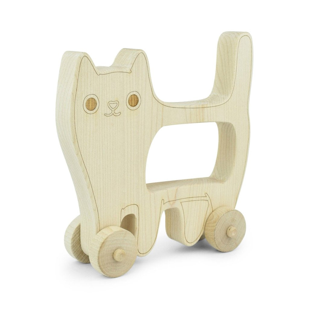 Wooden Toy Wooden Cat Push Toy - Happy Poppets