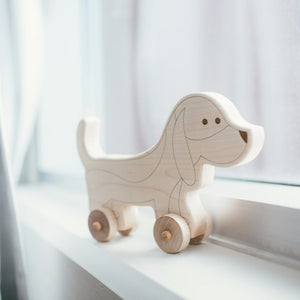 Wooden Toy Wooden Dog Push Toy - Happy Poppets