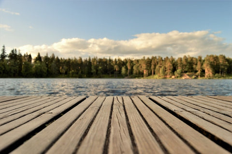Wooden deck and lake view