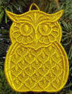 E520 K-Lace OWLS, Coasters or Ornaments Bundle $15 or Set of 3 large $10, or Set of 3 small $10