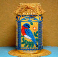 E616 Bluebird Quart Mason Jar & Lid Cover $20