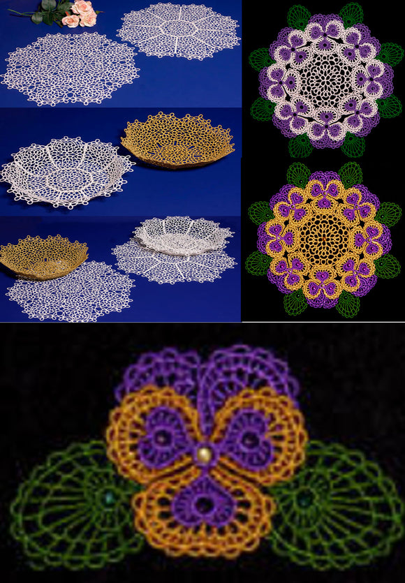 E130 K-Lace™ Faux Tatting Bowls, Doilies and Faux Tatting Bundle (Incl. E127-E129)