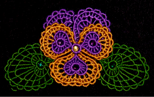 E131-E133B K-Lace™ Faux Tatting Bowl $10, 2  Doilies $15, Lace Pansy $10, Pansy/Doily Bundle $30 and Bundle including all designs $40