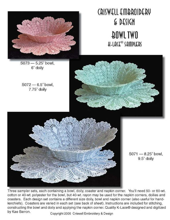 E257 Bowl Two Set K-Lace™, 257S Bowl, 257M Bowl, 257L Bowl and 257 Bowl Two Bundle