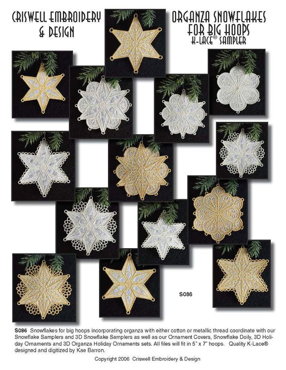 E281 Organza Snowflakes for Big Hoops