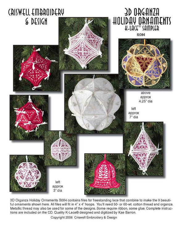 E282 3D Organza Holiday Ornaments