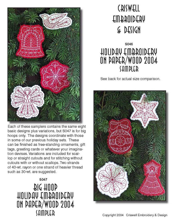 E318 Holiday Embroidery on Paper or Wood