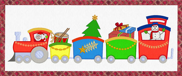 0030 Christmas Train, Tree Skirt $20.00 or Christmas Train Wall Hanging $20.00 or Both for $35.00.