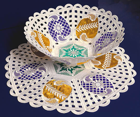 E341 Freestanding Organza Lace Bowl, Doily or Bundle