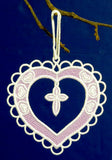 E423 and E424 Heart Ornaments with Mylar, FSL or Organza