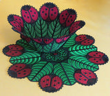 E433 Ladybug Bowl and Doily Bundle