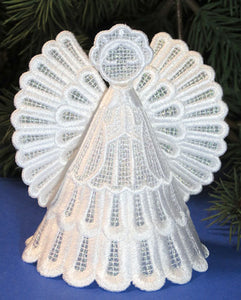 E447 3D Angel Ornament with Organza