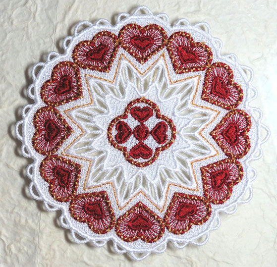 E451 K-Lace™Small Heart Doily for Big Hoops (fits 5