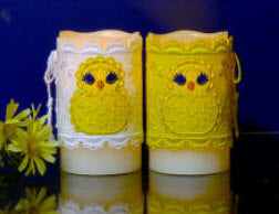 "E518 Easter Chick  3"" Flameless Candle Corset"