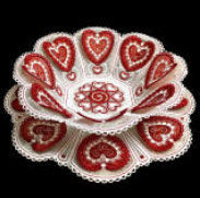 E574 3D Heart Bowl and Doily with Organza