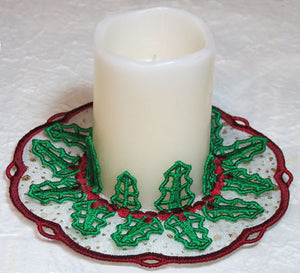 E449 Holly Doily Candle Holder K-Lace™ and Bundle including both.