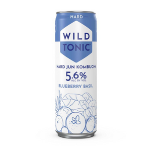 Wild Tonic, Kombucha, Blueberry Basil, 4 Pack Cans