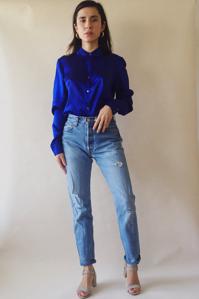 Calvin Klein Electric Blue Silk Blouse