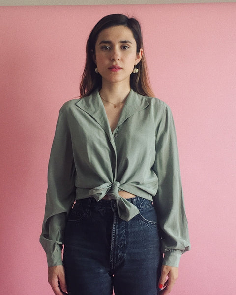 Silk Blouse in Sage
