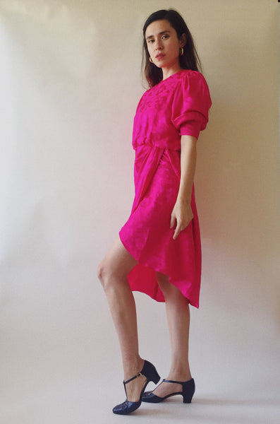 Floral Embossed Silk Dress in Fuchsia