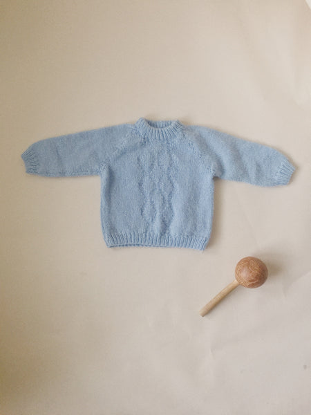 Hand Knit Baby Blue Sweater
