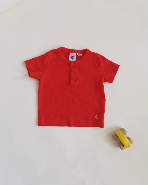 Petit Bateau Red Shirt, 3 to 6 months
