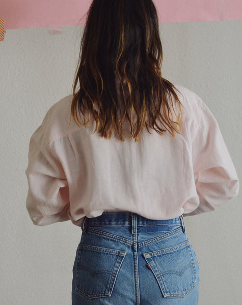 Baby Pink Linen Long Sleeve