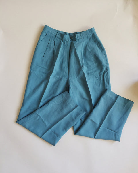 LIght Blue Linen/Silk Pants, 28 waist