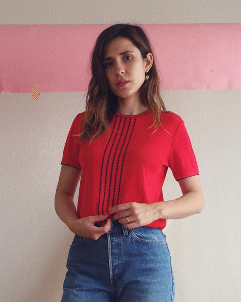 Red Knit Top