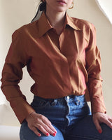 Rust Iridescent Silk Blouse