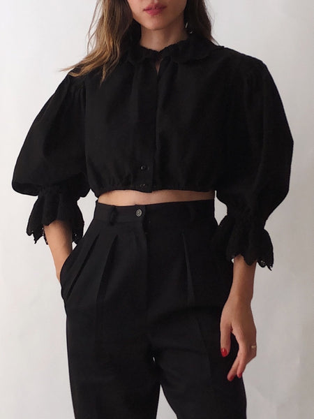 Vintage Puff Sleeve Black Crop Top