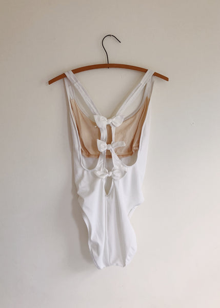 Vintage Bill Blass White Bow Swimsuit
