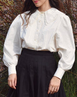 Double Collar Cotton Puff Blouse